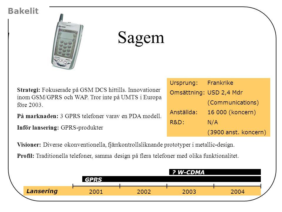 Strategi: Fokuserade på GSM DCS hittills. Innovationer inom GSM/GPRS och WAP. Tror inte på UMTS i Europa före 2003. På marknaden: 3 GPRS telefoner var