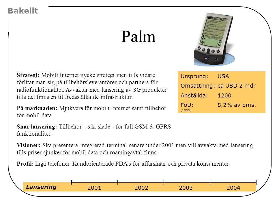 Palm Bakelit Strategi: Mobilt Internet nyckelstrategi men tills vidare förlitar man sig på tillbehörsleverantörer och partners för radiofunktionalitet