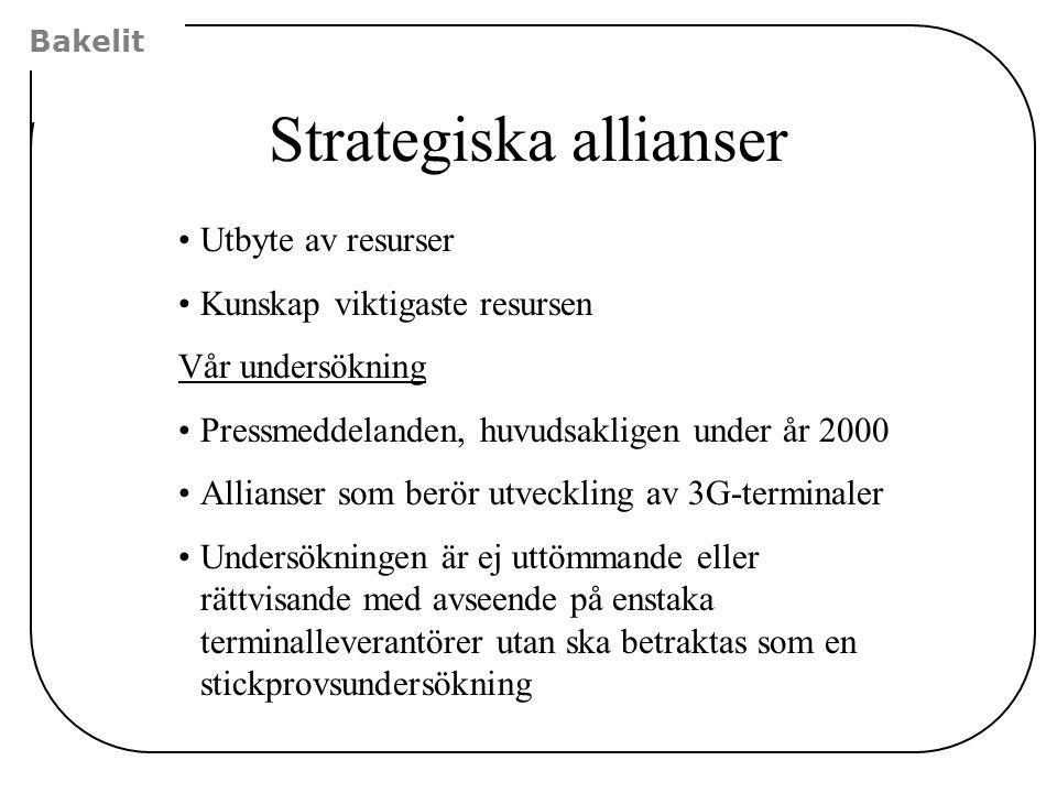 Bakelit Strategiska allianser Utbyte av resurser Kunskap viktigaste resursen Vår undersökning Pressmeddelanden, huvudsakligen under år 2000 Allianser