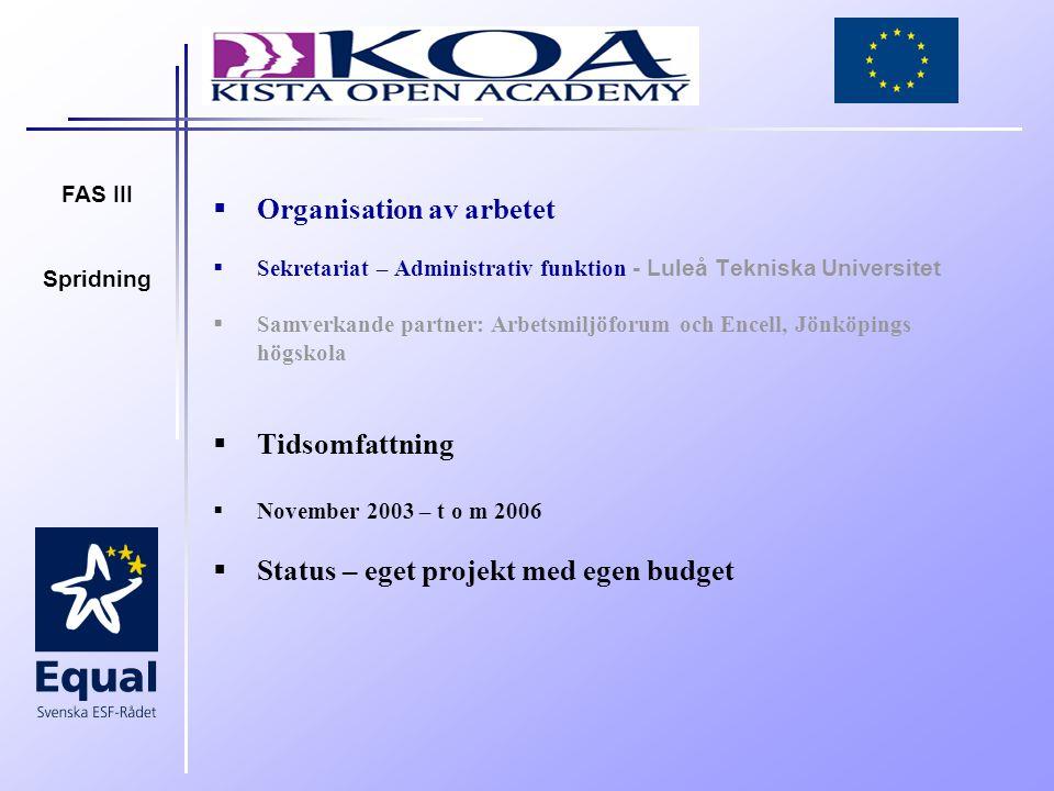 FAS III Spridning  Organisation av arbetet  Sekretariat – Administrativ funktion - Luleå Tekniska Universitet  Samverkande partner: Arbetsmiljöforum och Encell, Jönköpings högskola  Tidsomfattning  November 2003 – t o m 2006  Status – eget projekt med egen budget