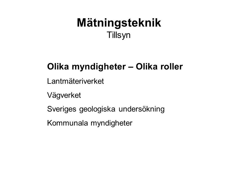 Olika myndigheter – Olika roller Lantmäteriverket Vägverket Sveriges geologiska undersökning Kommunala myndigheter Mätningsteknik Tillsyn