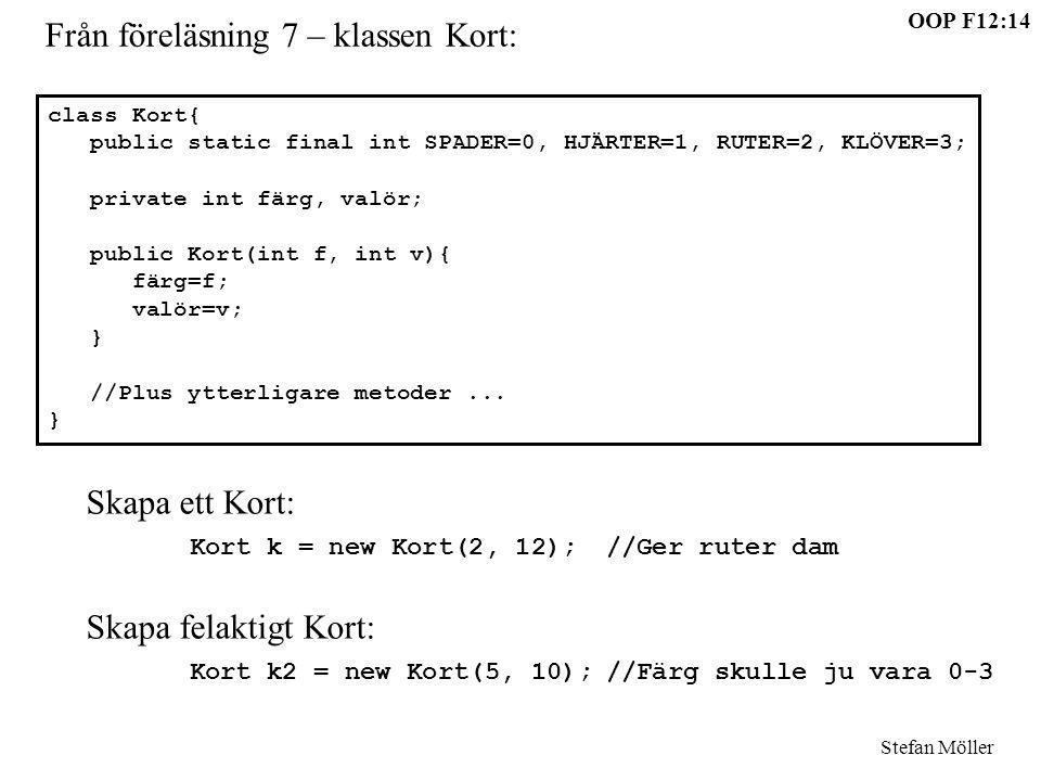 OOP F12:14 Stefan Möller Från föreläsning 7 – klassen Kort: class Kort{ public static final int SPADER=0, HJÄRTER=1, RUTER=2, KLÖVER=3; private int fä
