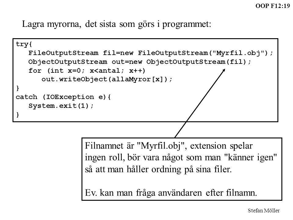 OOP F12:19 Stefan Möller try{ FileOutputStream fil=new FileOutputStream(