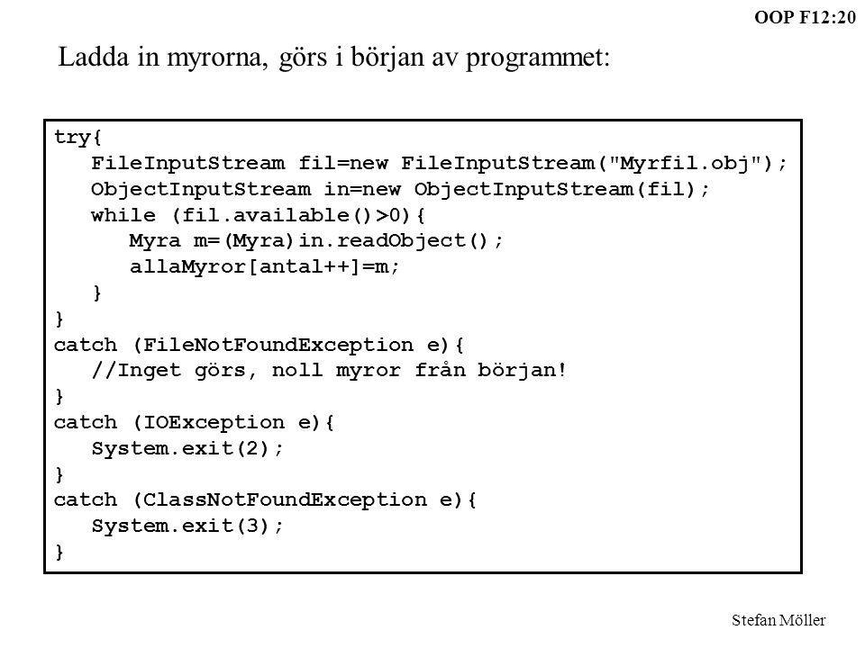 OOP F12:20 Stefan Möller try{ FileInputStream fil=new FileInputStream(