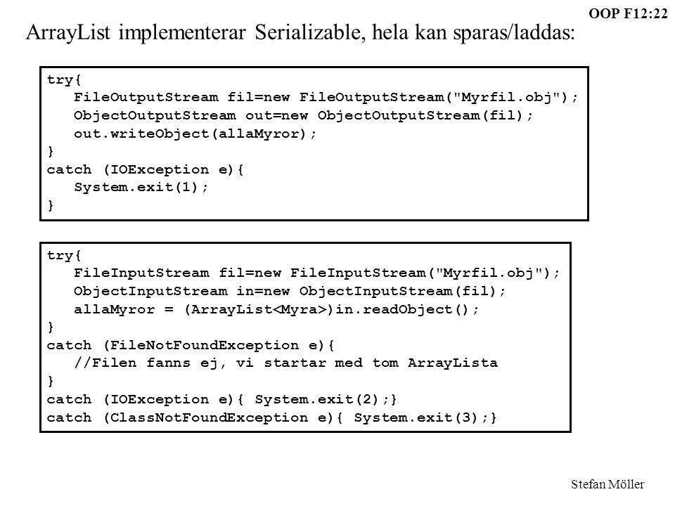 OOP F12:22 Stefan Möller try{ FileOutputStream fil=new FileOutputStream(