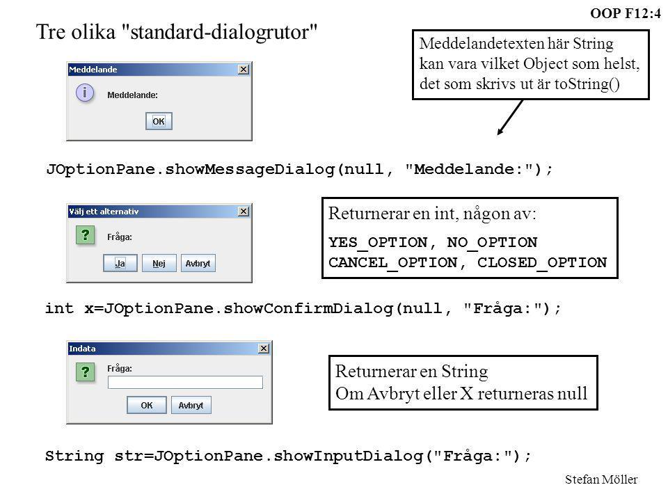 OOP F12:5 Stefan Möller JOptionPane.showMessageDialog(null, Meddelande\nText\nText ); JOptionPane.showMessageDialog(null, Meddelande , Fönsternamn , JOptionPane.ERROR_MESSAGE); JOptionPane.showConfirmDialog(null, Fråga\nMer text , VIKTIGT - SVARA RÄTT , JOptionPane.YES_NO_OPTION); JOptionPane.showInputDialog(null, Fråga: , Svara!!! , JOptionPane.WARNING_MESSAGE);