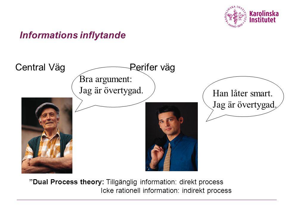 """Informations inflytande Central Väg Perifer väg Bra argument: Jag är övertygad. Han låter smart. Jag är övertygad. """"Dual Process theory: Tillgänglig i"""
