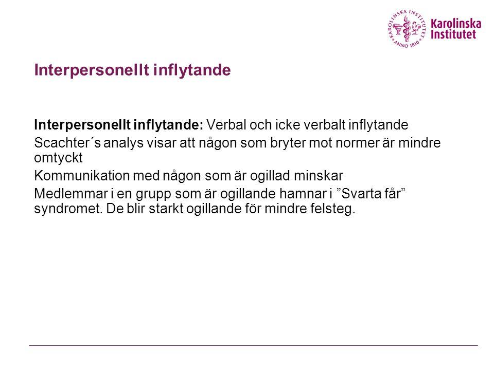 Interpersonellt inflytande Interpersonellt inflytande: Verbal och icke verbalt inflytande Scachter´s analys visar att någon som bryter mot normer är m
