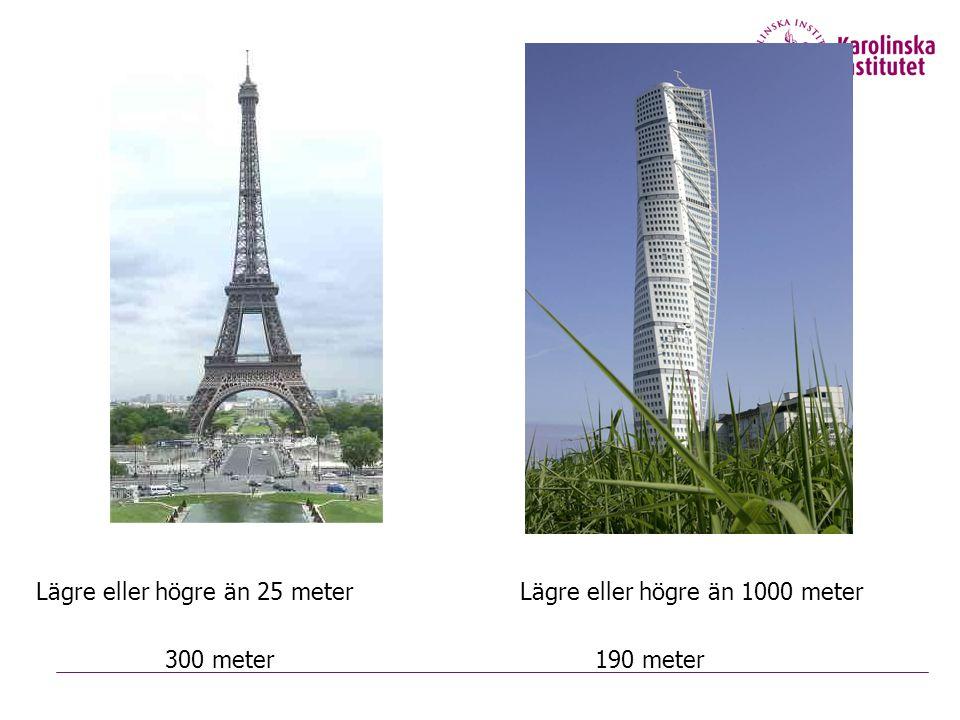 Lägre eller högre än 25 meterLägre eller högre än 1000 meter 300 meter190 meter