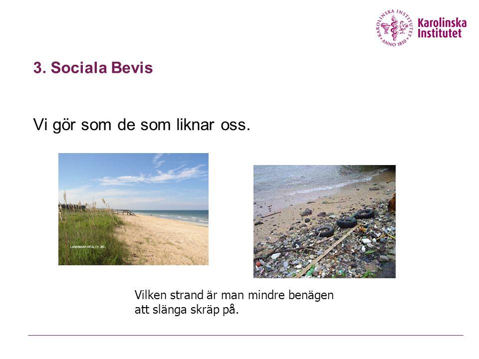 3. Sociala Bevis Vi gör som de som liknar oss. Vilken strand är man mindre benägen att slänga skräp på.