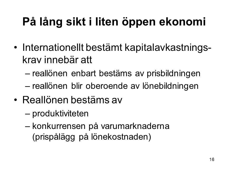 16 På lång sikt i liten öppen ekonomi Internationellt bestämt kapitalavkastnings- krav innebär att –reallönen enbart bestäms av prisbildningen –reallö