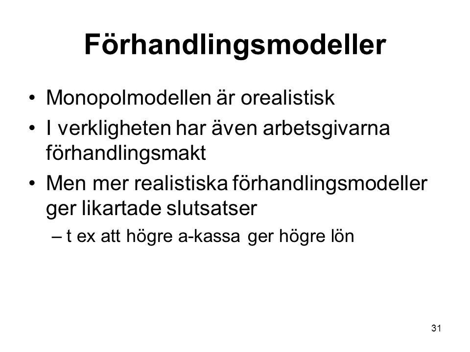 31 Förhandlingsmodeller Monopolmodellen är orealistisk I verkligheten har även arbetsgivarna förhandlingsmakt Men mer realistiska förhandlingsmodeller