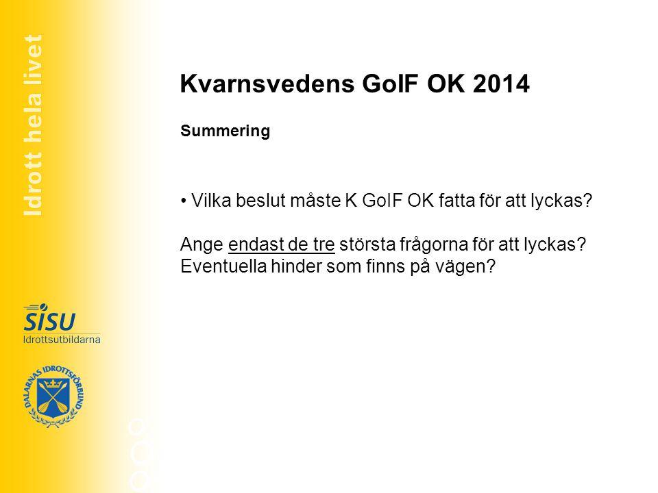 Kvarnsvedens GoIF OK 2014 Vilka beslut måste K GoIF OK fatta för att lyckas? Ange endast de tre största frågorna för att lyckas? Eventuella hinder som
