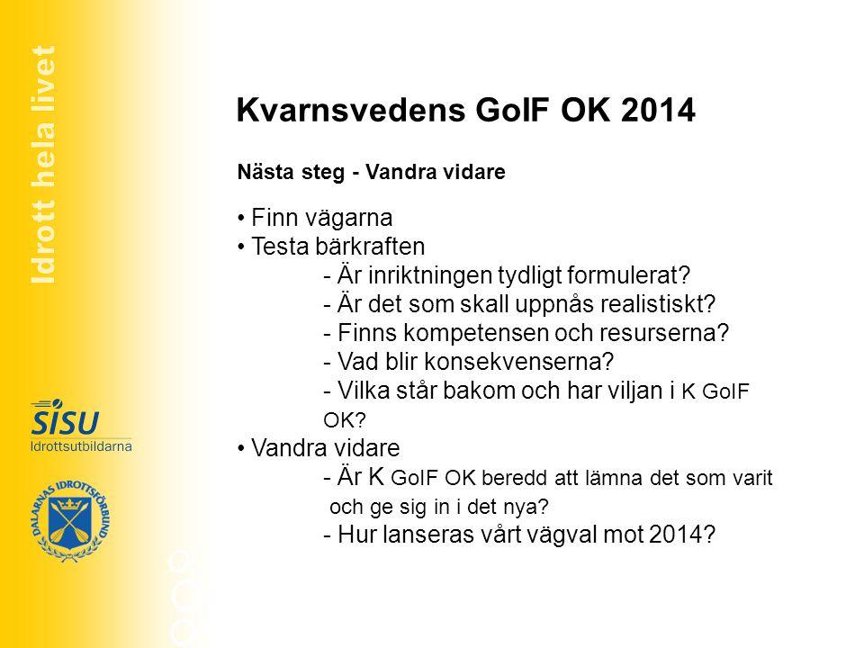 Kvarnsvedens GoIF OK 2014 Finn vägarna Testa bärkraften - Är inriktningen tydligt formulerat? - Är det som skall uppnås realistiskt? - Finns kompetens