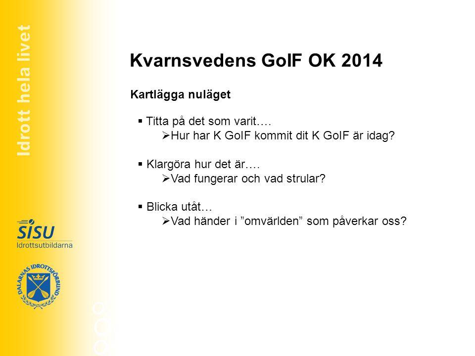 Kvarnsvedens GoIF OK 2014 Identifiera styrkor, svagheter, möjligheter hot Styrkor Vad är vi bra på.