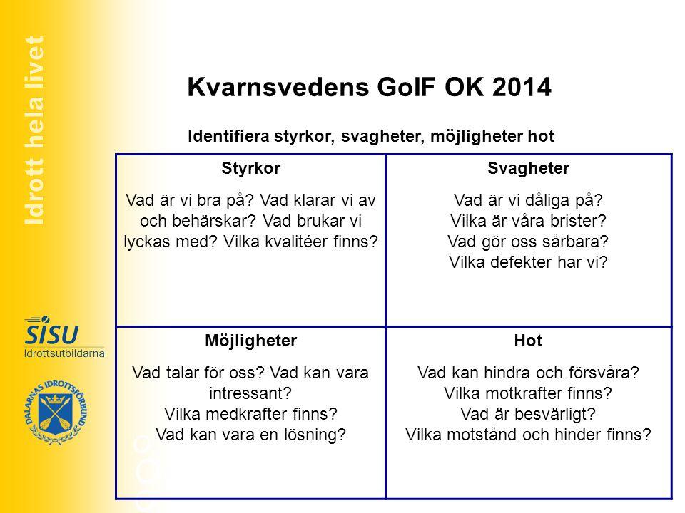Kvarnsvedens GoIF OK 2014 Om K GoIF skulle dö eller försvinna vad skulle vara de mest troliga anledningarna.