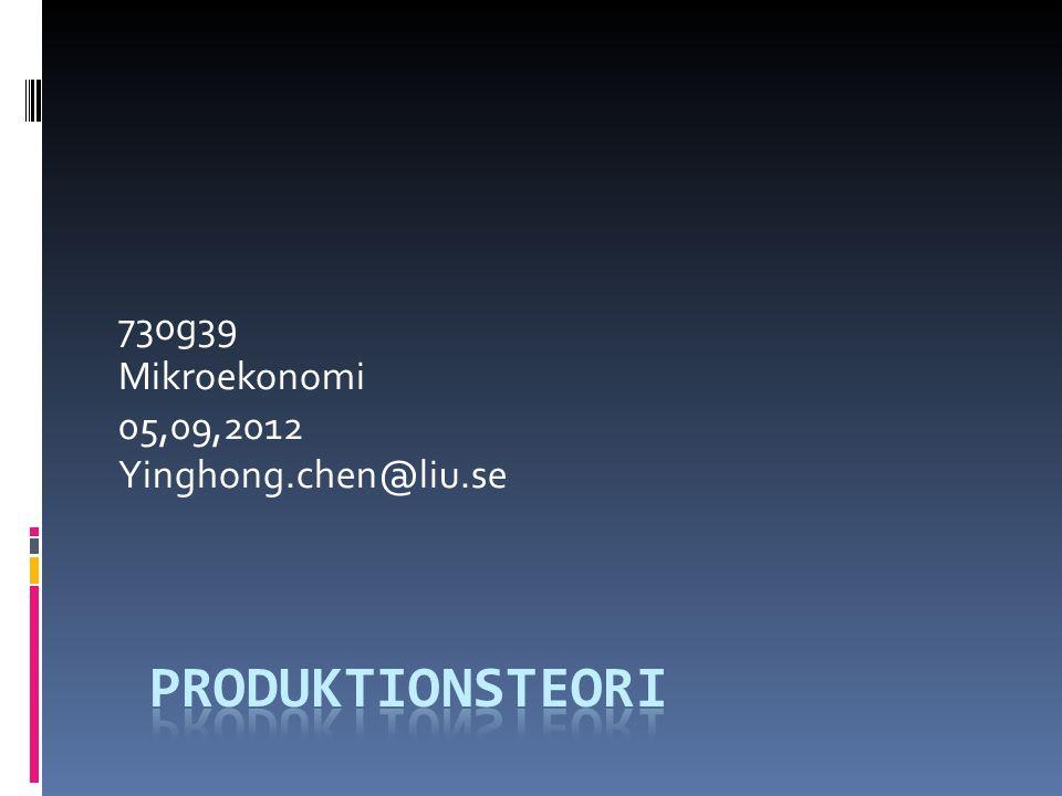 Produktionsteori  Produktionsfunktionen. Produktion på kort sikt  Produktion på lång sikt.