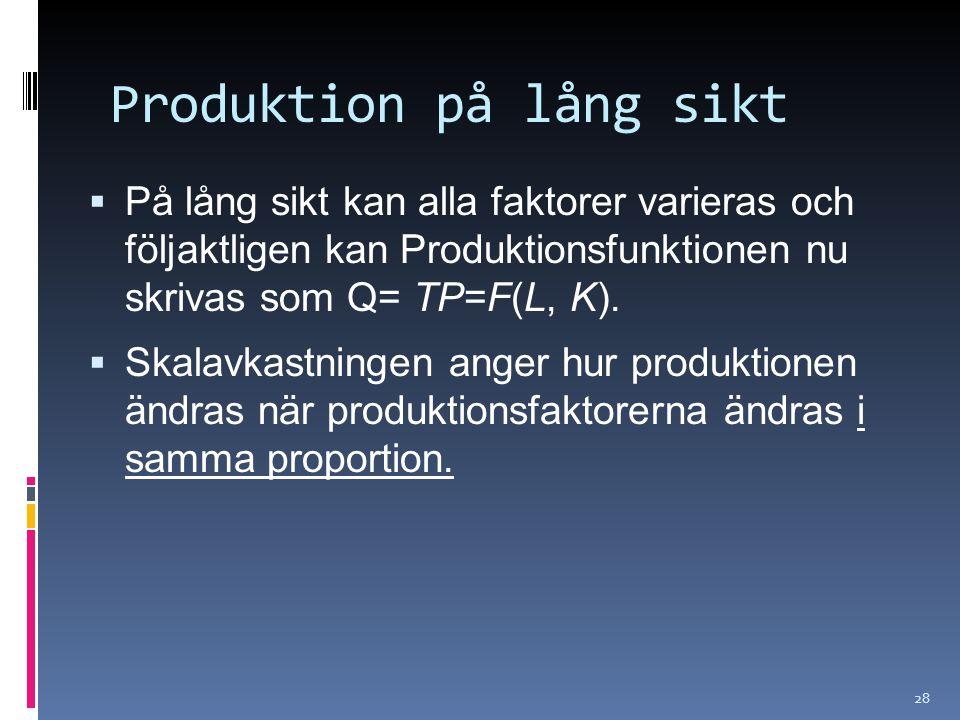 28 Produktion på lång sikt  På lång sikt kan alla faktorer varieras och följaktligen kan Produktionsfunktionen nu skrivas som Q= TP=F(L, K).  Skalav