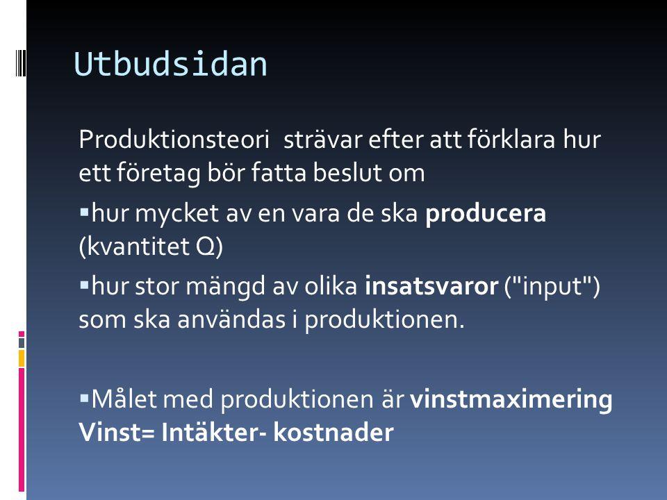 Utbudsidan Produktionsteori strävar efter att förklara hur ett företag bör fatta beslut om  hur mycket av en vara de ska producera (kvantitet Q)  hur stor mängd av olika insatsvaror ( input ) som ska användas i produktionen.