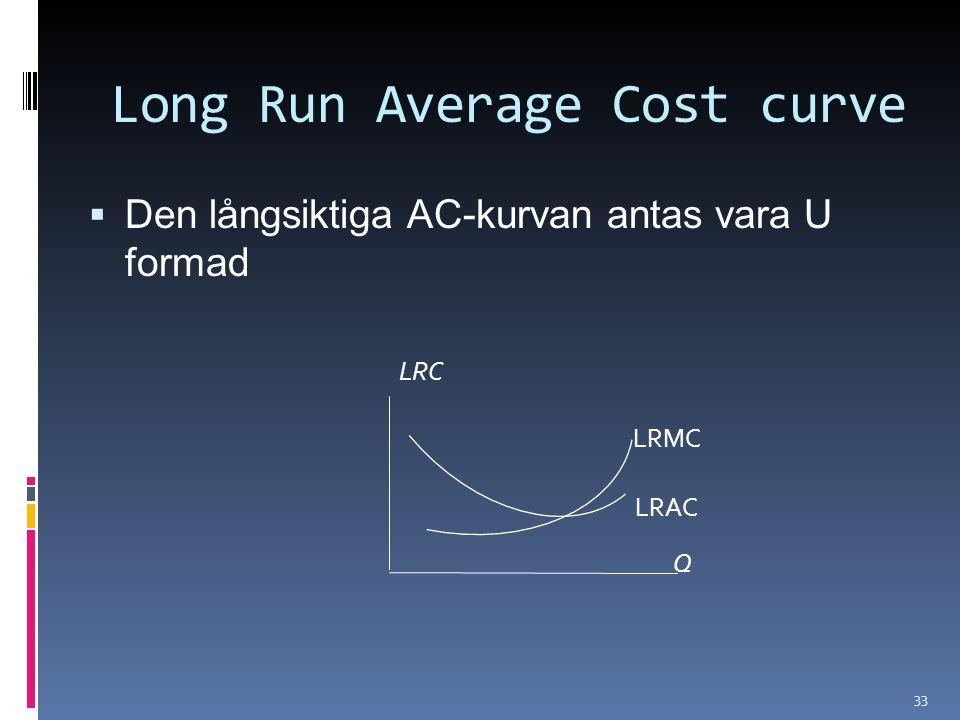 33  Den långsiktiga AC-kurvan antas vara U formad Long Run Average Cost curve LRC Q LRMC LRAC