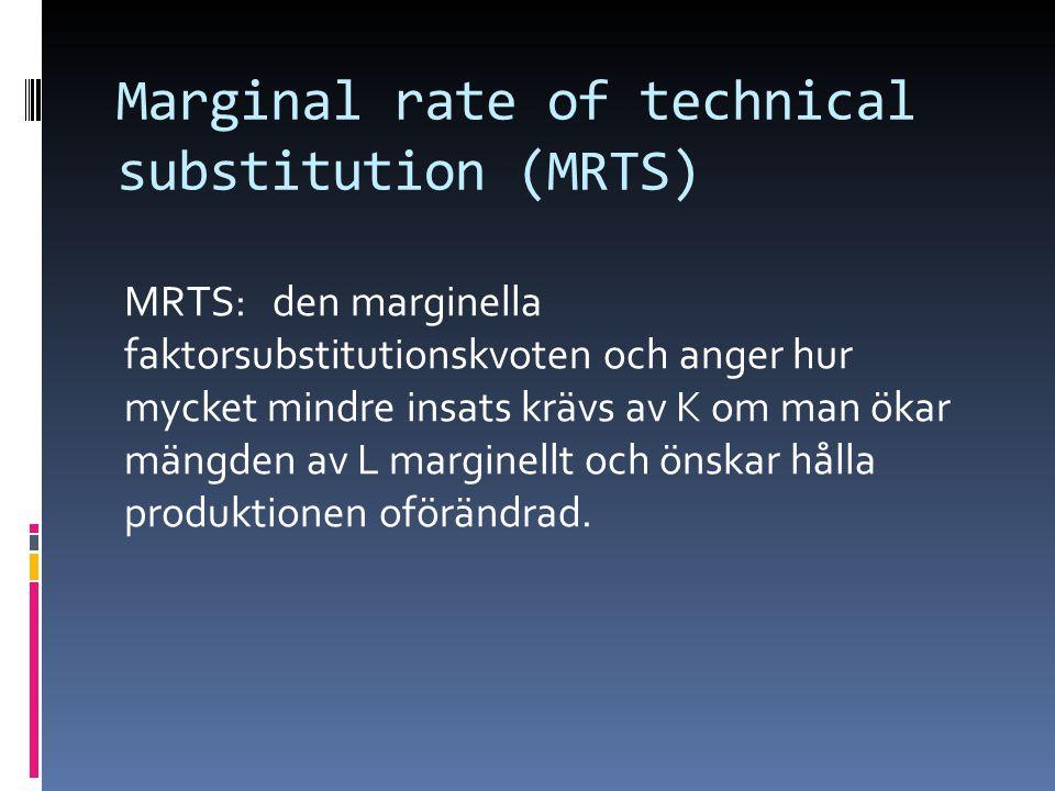 Marginal rate of technical substitution (MRTS) MRTS: den marginella faktorsubstitutionskvoten och anger hur mycket mindre insats krävs av K om man ökar mängden av L marginellt och önskar hålla produktionen oförändrad.