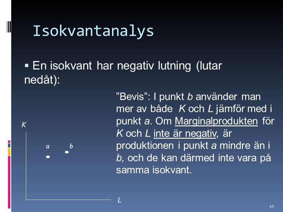 45  En isokvant har negativ lutning (lutar nedåt): Isokvantanalys K L Bevis : I punkt b använder man mer av både K och L jämför med i punkt a.