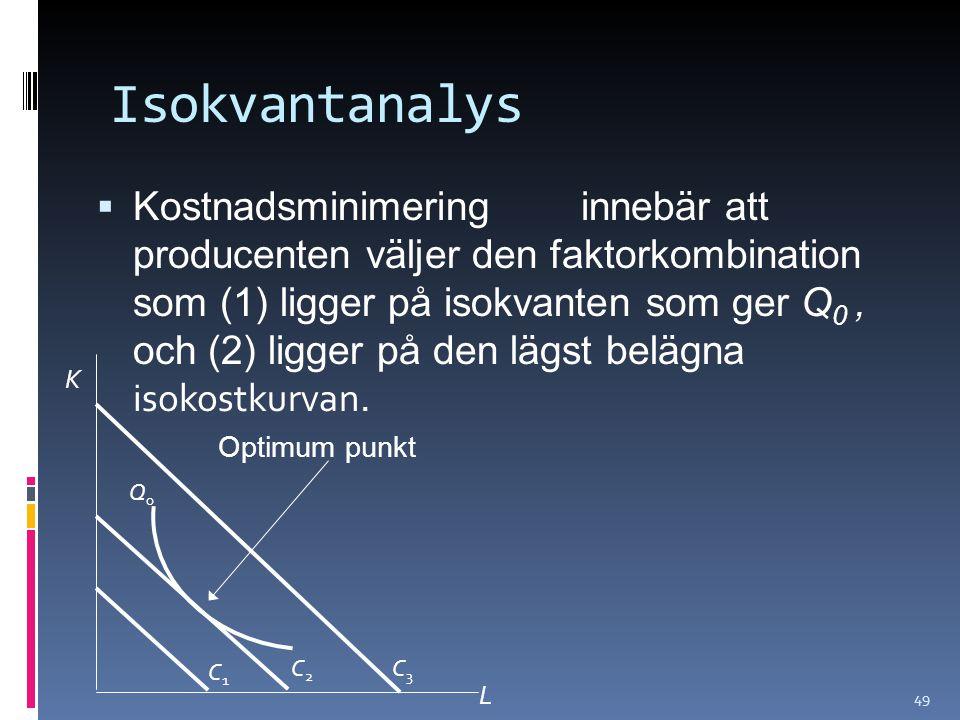 49 Isokvantanalys  Kostnadsminimering innebär att producenten väljer den faktorkombination som (1) ligger på isokvanten som ger Q 0, och (2) ligger på den lägst belägna isokostkurvan.