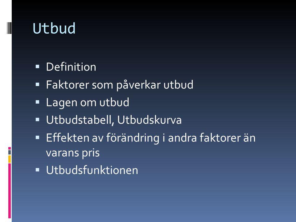 Utbud  Definition  Faktorer som påverkar utbud  Lagen om utbud  Utbudstabell, Utbudskurva  Effekten av förändring i andra faktorer än varans pris  Utbudsfunktionen