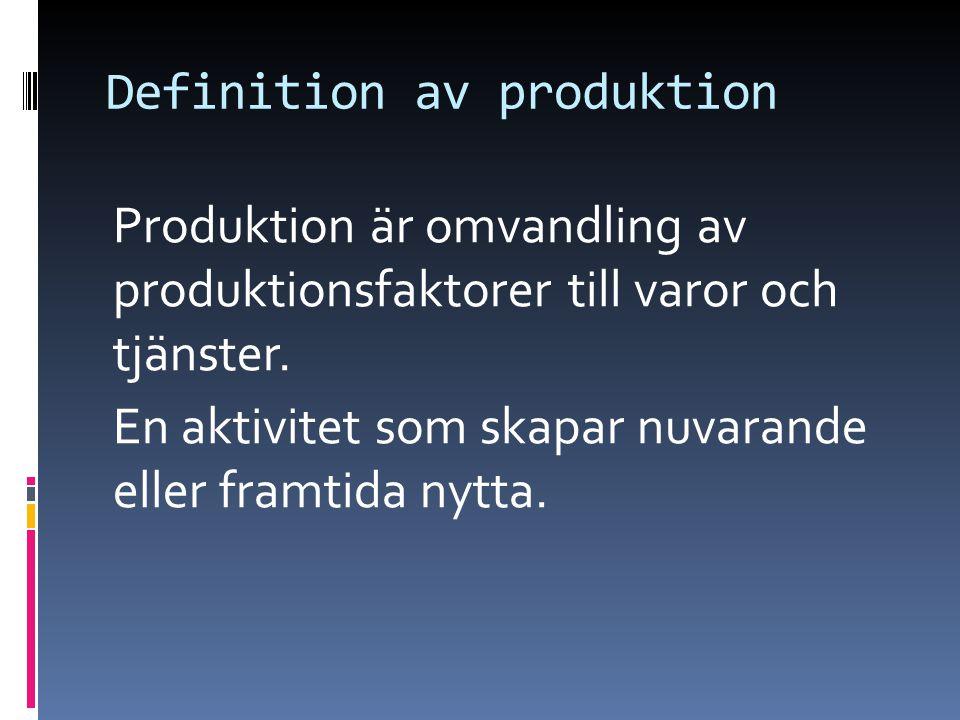 Definition av produktion Produktion är omvandling av produktionsfaktorer till varor och tjänster. En aktivitet som skapar nuvarande eller framtida nyt