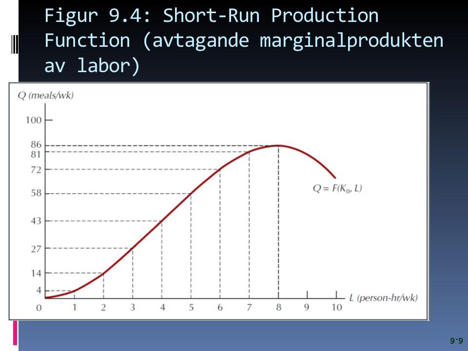 Figur 9.4: Short-Run Production Function (avtagande marginalprodukten av labor) 9-9