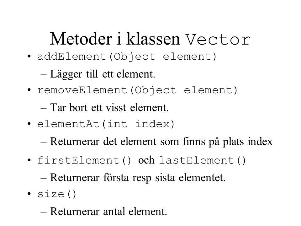 Typkonvertering av objekt Allt som lagras i en Vector konverteras automatiskt till klassen Object.