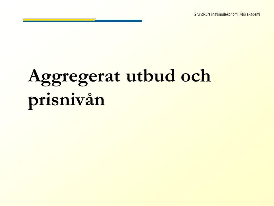 Grundkurs i nationalekonomi, Åbo akademi Aggregerat utbud och prisnivån