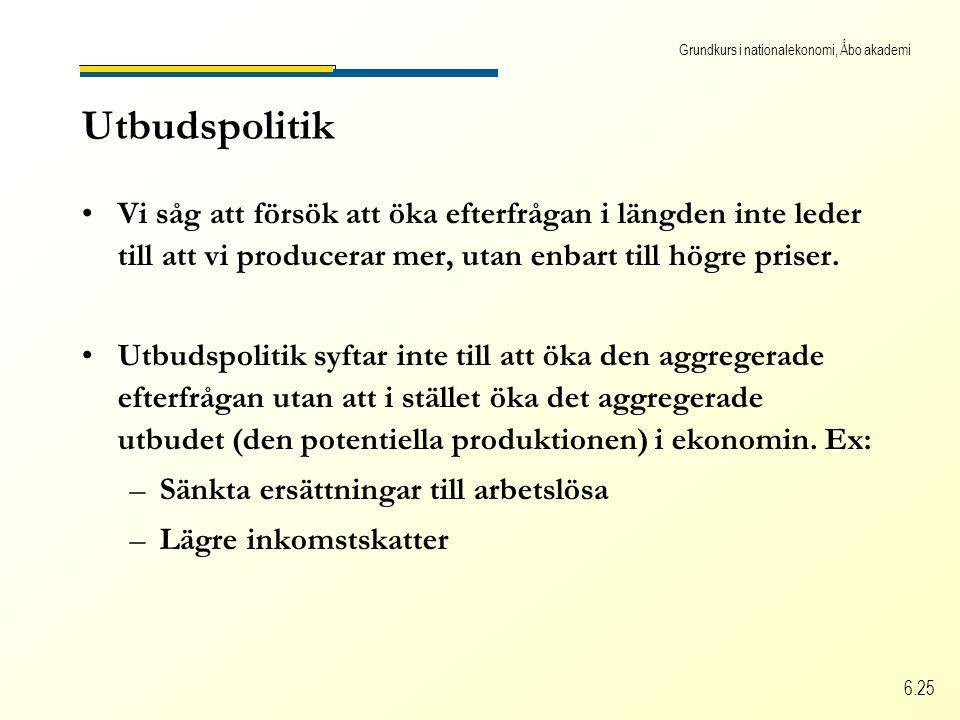 Grundkurs i nationalekonomi, Åbo akademi 6.25 Utbudspolitik Vi såg att försök att öka efterfrågan i längden inte leder till att vi producerar mer, uta