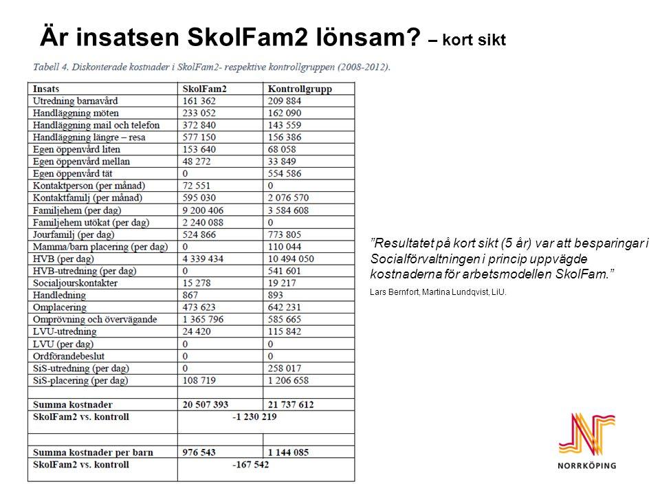 Är insatsen SkolFam2 lönsam.