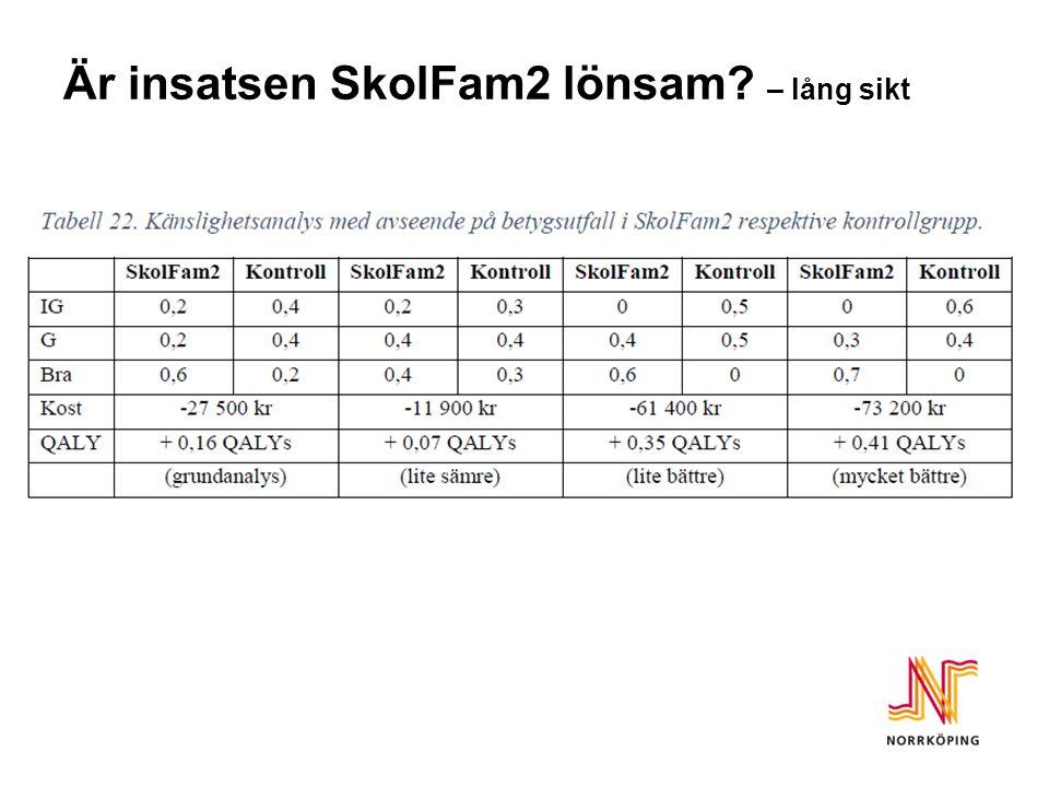 Är insatsen SkolFam2 lönsam? – lång sikt