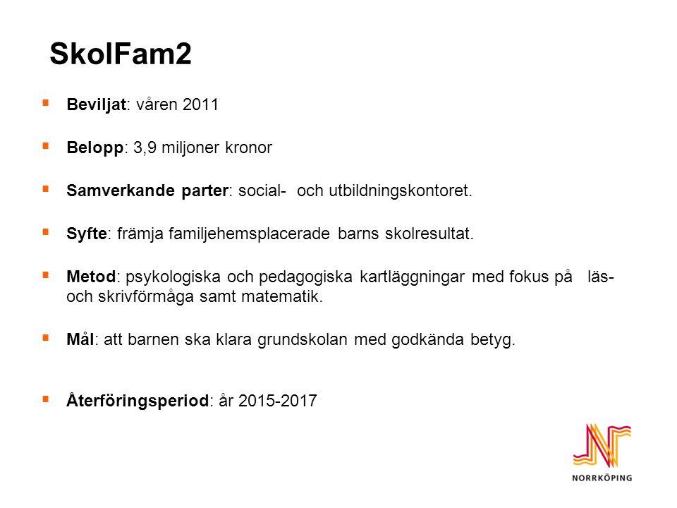 SkolFam2  Beviljat: våren 2011  Belopp: 3,9 miljoner kronor  Samverkande parter: social- och utbildningskontoret.