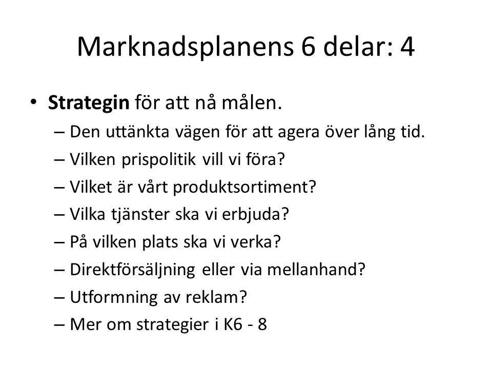 Marknadsplanens 6 delar: 4 Strategin för att nå målen. – Den uttänkta vägen för att agera över lång tid. – Vilken prispolitik vill vi föra? – Vilket ä