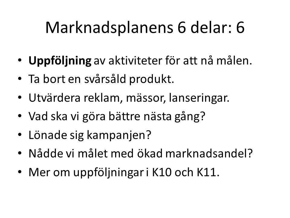 Marknadsplanens 6 delar: 6 Uppföljning av aktiviteter för att nå målen. Ta bort en svårsåld produkt. Utvärdera reklam, mässor, lanseringar. Vad ska vi