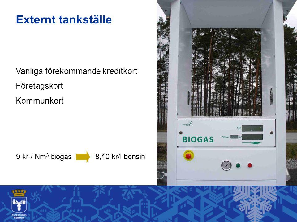 9 kr / Nm 3 biogas8,10 kr/l bensin Vanliga förekommande kreditkort Företagskort Kommunkort Externt tankställe