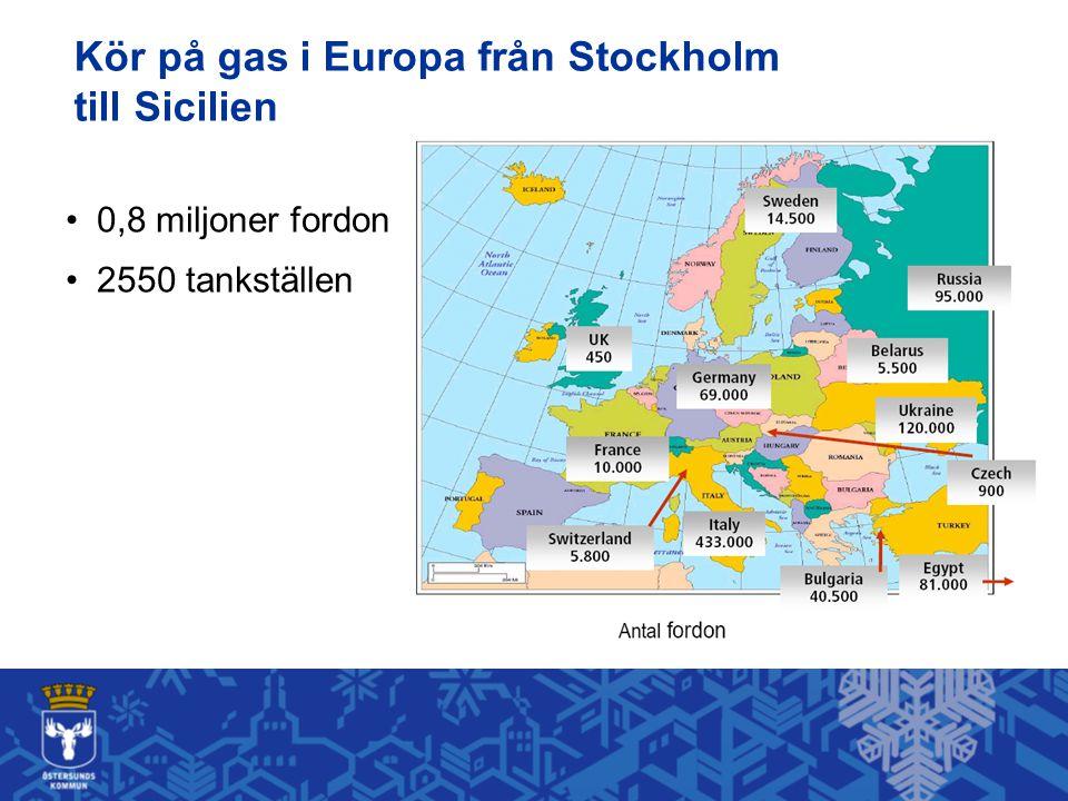 Kör på gas i Europa från Stockholm till Sicilien 0,8 miljoner fordon 2550 tankställen