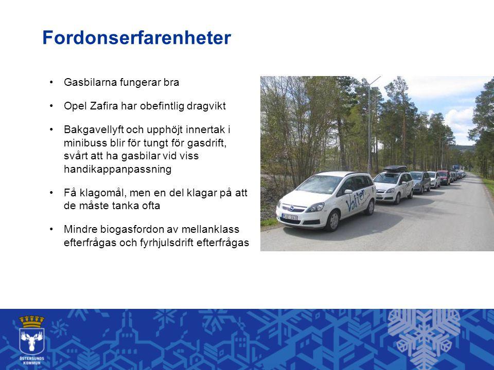 Gasbilarna fungerar bra Opel Zafira har obefintlig dragvikt Bakgavellyft och upphöjt innertak i minibuss blir för tungt för gasdrift, svårt att ha gasbilar vid viss handikappanpassning Få klagomål, men en del klagar på att de måste tanka ofta Mindre biogasfordon av mellanklass efterfrågas och fyrhjulsdrift efterfrågas Fordonserfarenheter