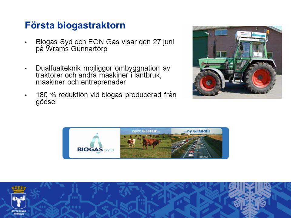 Första biogastraktorn Biogas Syd och EON Gas visar den 27 juni på Wrams Gunnartorp Dualfualteknik möjliggör ombyggnation av traktorer och andra maskiner i lantbruk, maskiner och entreprenader 180 % reduktion vid biogas producerad från gödsel