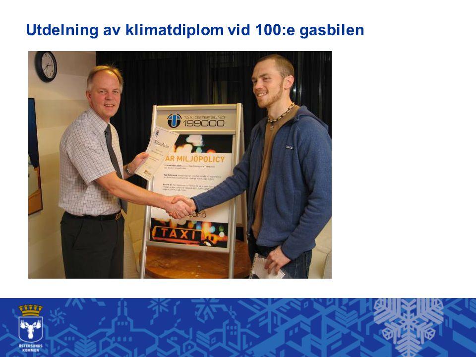 Utdelning av klimatdiplom vid 100:e gasbilen