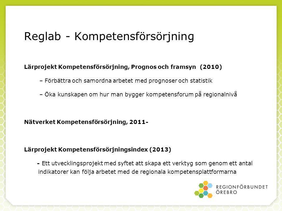 Reglab - Kompetensförsörjning Lärprojekt Kompetensförsörjning, Prognos och framsyn (2010) – Förbättra och samordna arbetet med prognoser och statistik