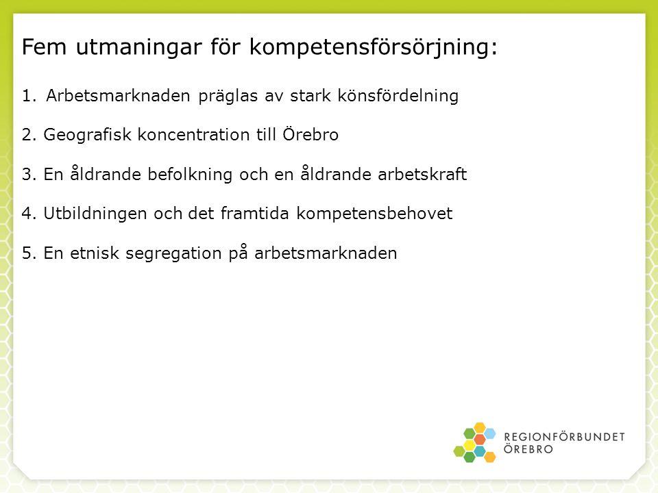 Fem utmaningar för kompetensförsörjning: 1.Arbetsmarknaden präglas av stark könsfördelning 2. Geografisk koncentration till Örebro 3. En åldrande befo