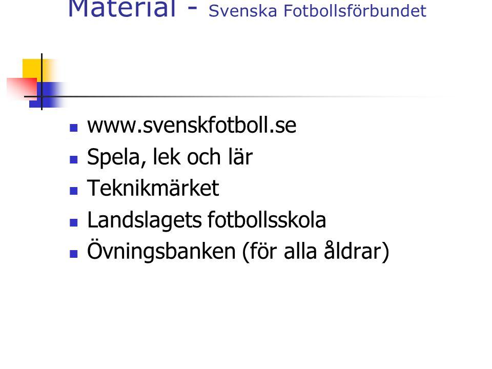 Material - Svenska Fotbollsförbundet www.svenskfotboll.se Spela, lek och lär Teknikmärket Landslagets fotbollsskola Övningsbanken (för alla åldrar)