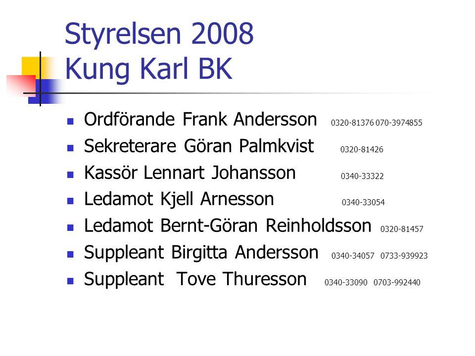 Styrelsen 2008 Kung Karl BK Ordförande Frank Andersson 0320-81376 070-3974855 Sekreterare Göran Palmkvist 0320-81426 Kassör Lennart Johansson 0340-333
