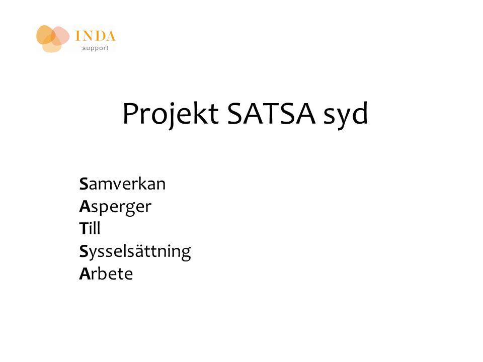 SATSA syd Start 2012-01-01 pågår till och med 2013 Två personal, kontor i Askersund och Kumla Finansieras av FINSAM Kommunerna i sydnärke Landstinget Arbetsförmedlingen Försäkringskassan