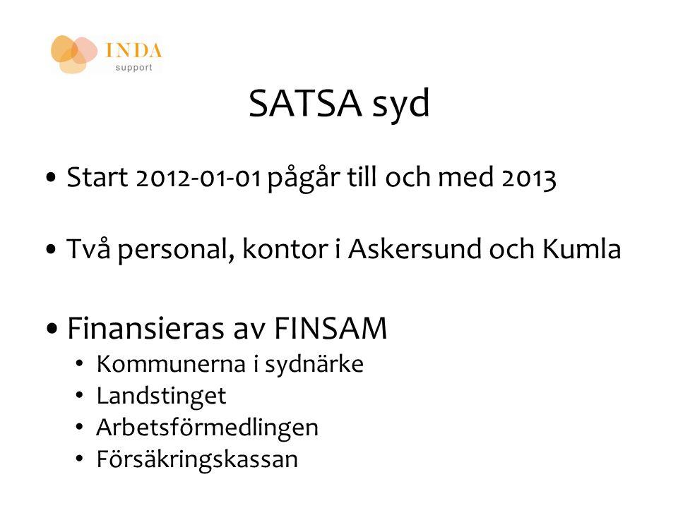 SATSA syd Start 2012-01-01 pågår till och med 2013 Två personal, kontor i Askersund och Kumla Finansieras av FINSAM Kommunerna i sydnärke Landstinget