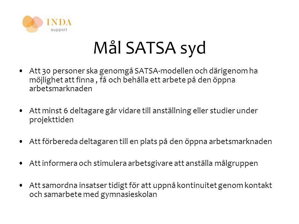 Mål SATSA syd Att 30 personer ska genomgå SATSA-modellen och därigenom ha möjlighet att finna, få och behålla ett arbete på den öppna arbetsmarknaden